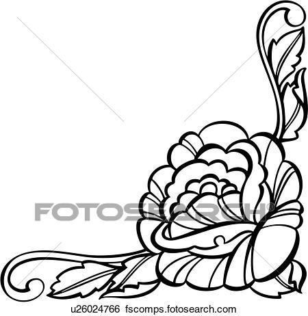 450x462 Clip Art Of , Border, Corner, Floral, U26024766