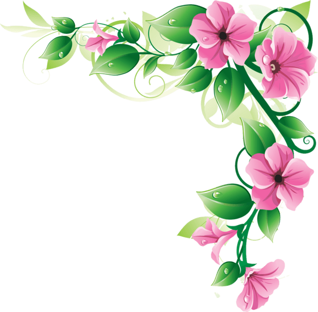 640x628 Flowers Corner Frame transparent PNG
