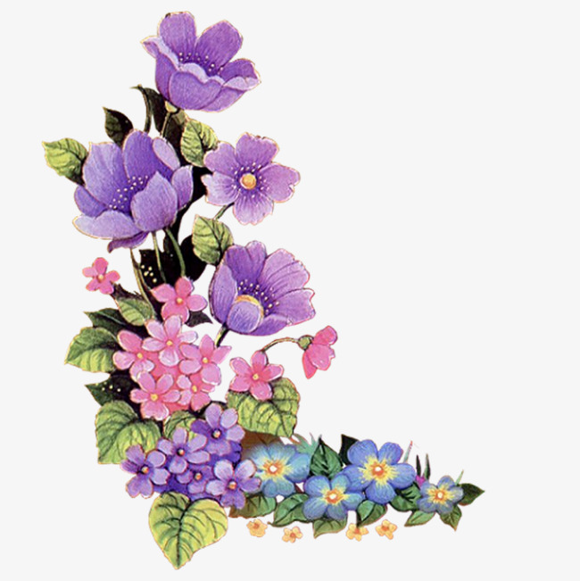 650x651 Purple flowers decorate the corners Fig., Painted, Purple, Elegant