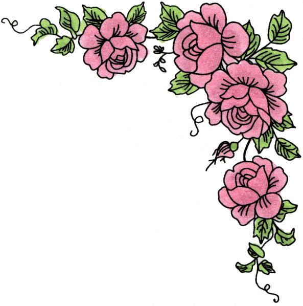 593x598 Vintage Rose Corners Clipart