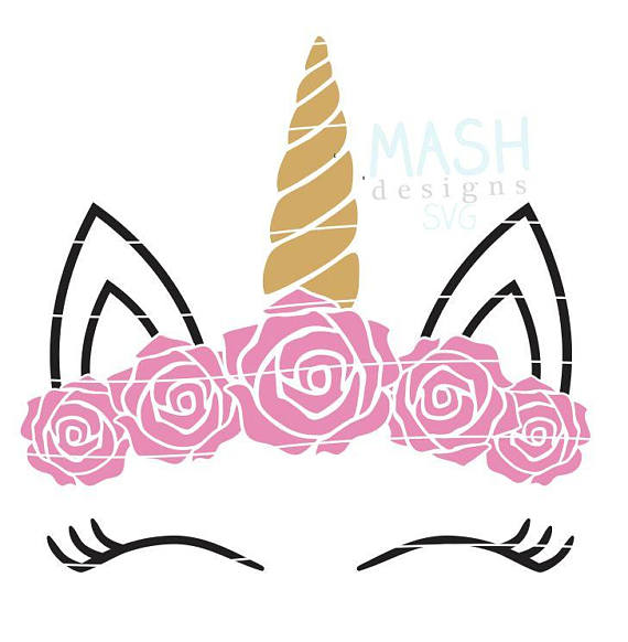 570x582 Rose Floral Unicorn Svg Floral Unicorn Head Clipart Unicorn