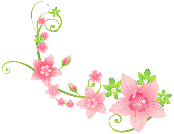 600x462 Pink Floral Decoration PNG Clip Art Image flowers