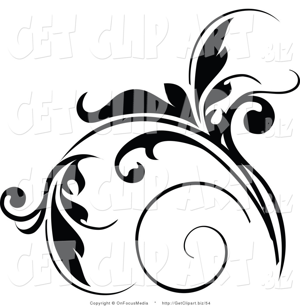 1024x1044 Clip Art Of A Floral Design Element In Black, With Tendrils