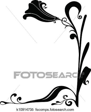 383x470 Clipart Of Vector Black Flower Frame For Corners K10914735