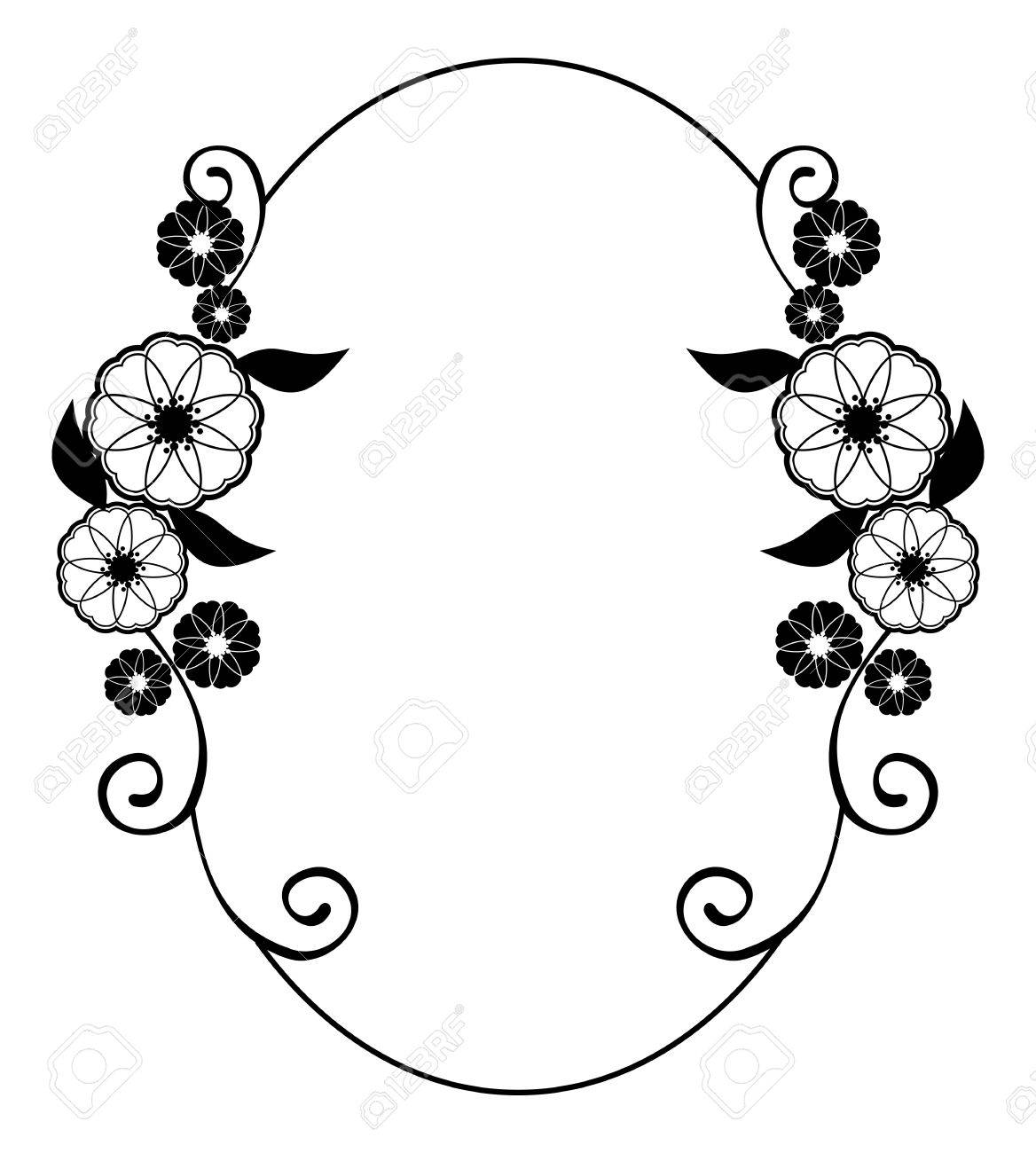 1168x1300 Round Flower Frame. Decorative Flowers Arranged On A Shape