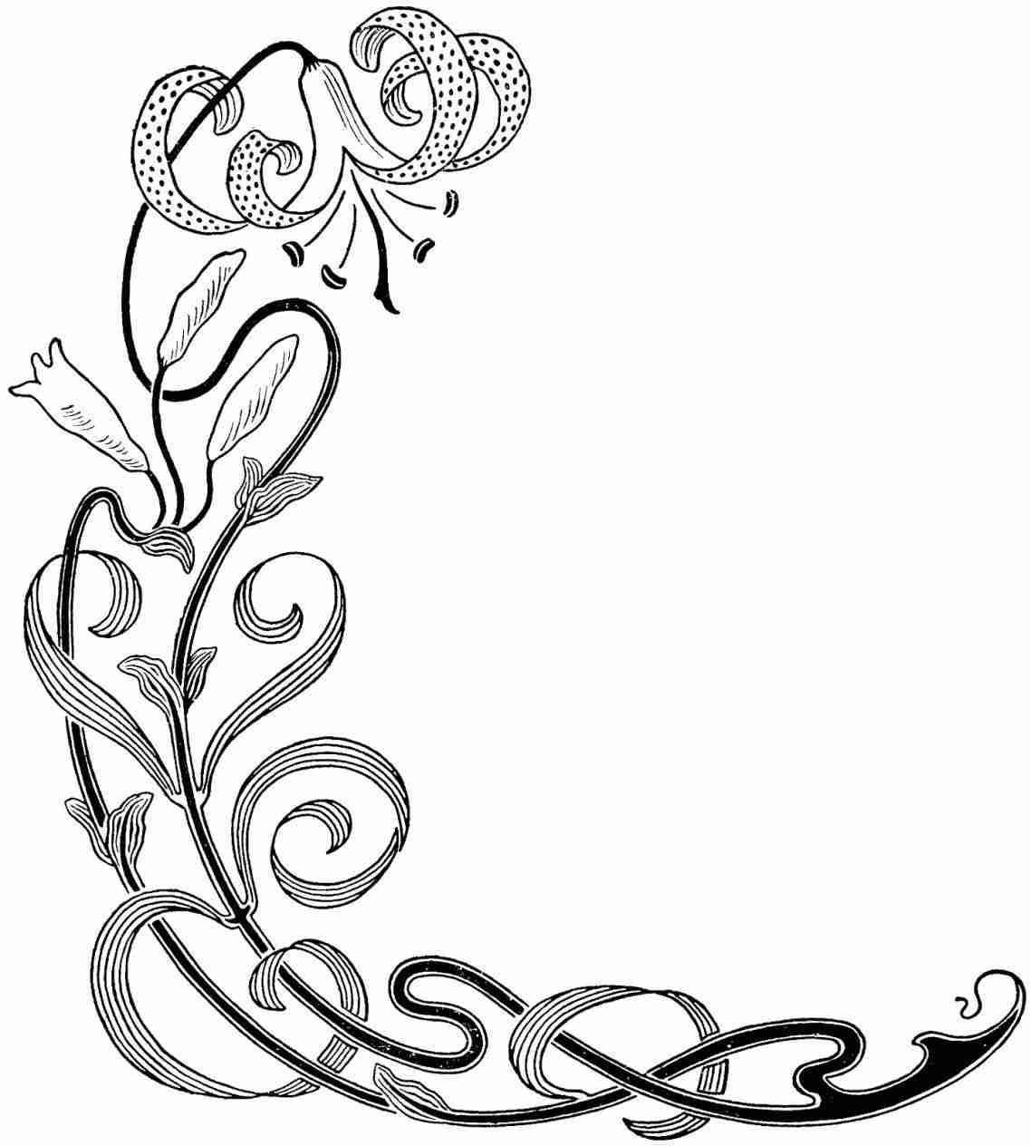 1138x1264 Flower Border Clip Art Black And White
