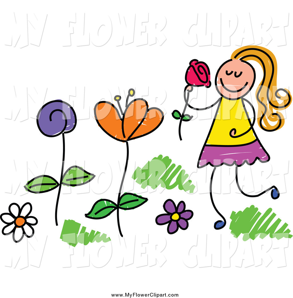 1024x1044 Clip Art Of A Happy Girl Picking And Smelling Flowers In A Garden