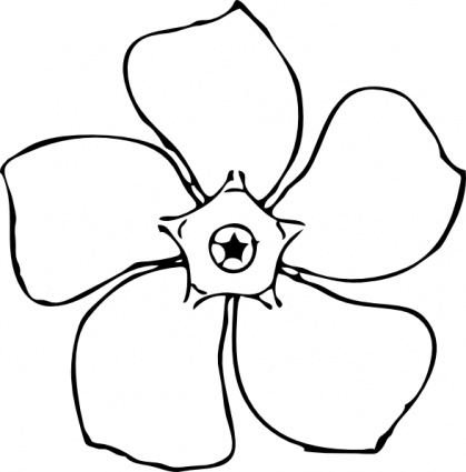 419x425 Clipart Flowers Black And White