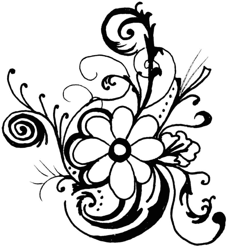 800x873 Flower Black And White Flower Black And White Flower Clipart 4
