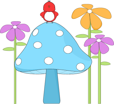 400x367 Mushroom With A Bird And Flowers Clip Art