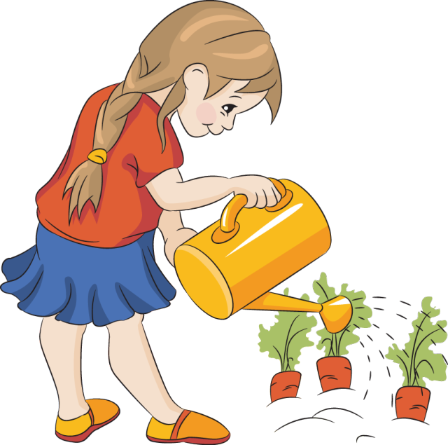 640x635 Girl Watering The Plants Clipart
