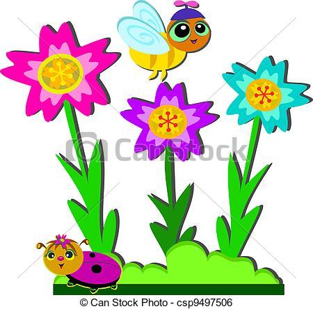 450x444 Purple Flower Garden Clipart