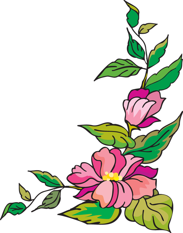 589x750 Flower Garden Print Border Clipart