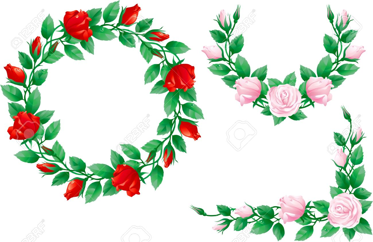 1300x845 Red Rose Clipart Garland