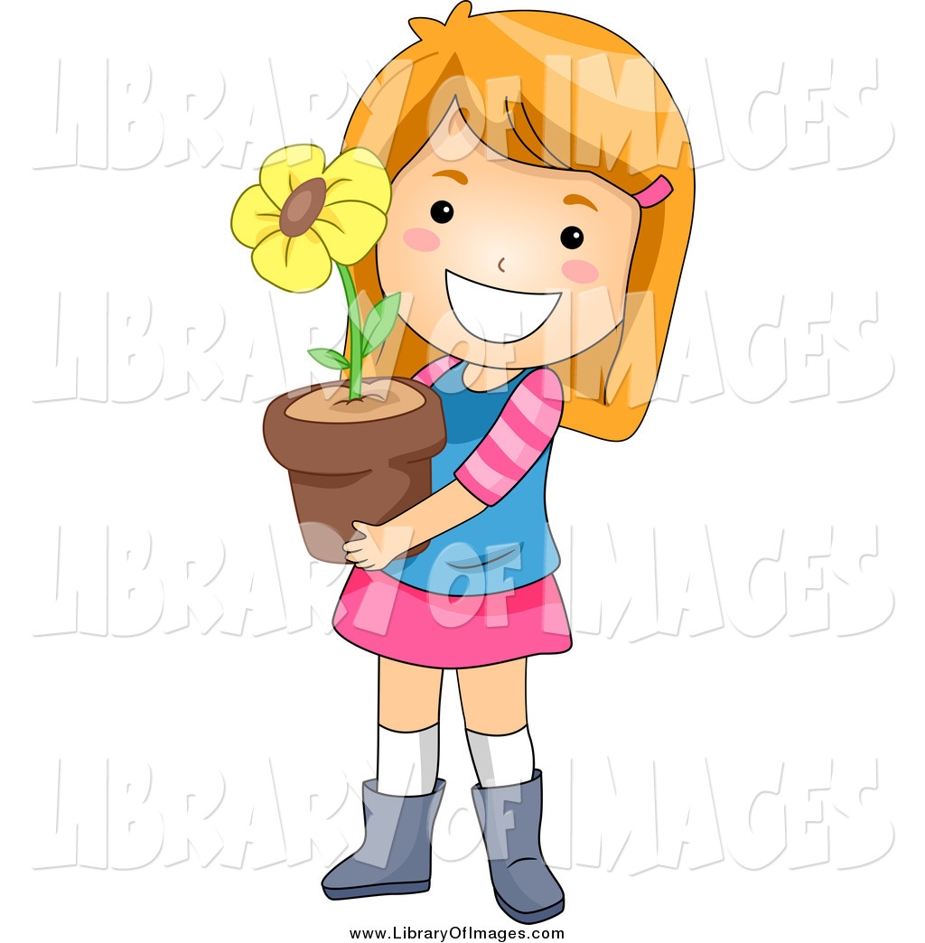 1024x1044 Clip Art Of A Happy White Red Haired Girl Holding A Potted Flower