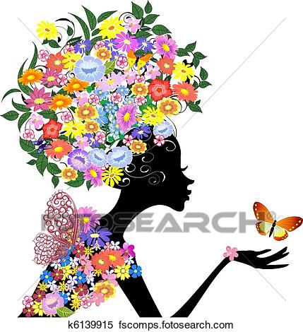429x470 Clipart Of Flower Girl In Profile With A Butterfly K6139915