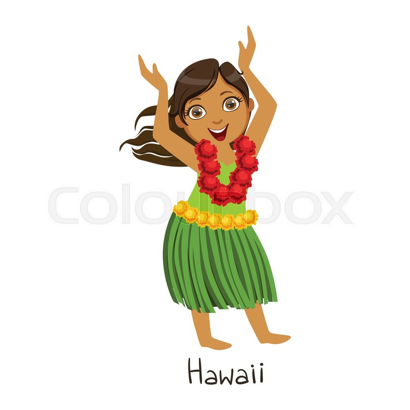 800x800 Cute Hula Girl. Vector Clip Art Illustration With Simple Gradients