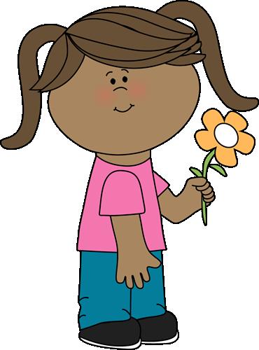 370x500 Girl Holding A Flower Clip Art