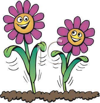 339x350 Royalty Free Clipart Image Smiling Flowers Growing In Soil
