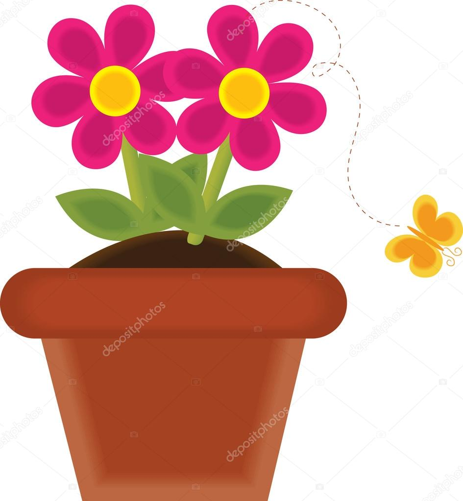 945x1024 Clip Art Illustration Of A Spring Flower Growing In A Pot Stock