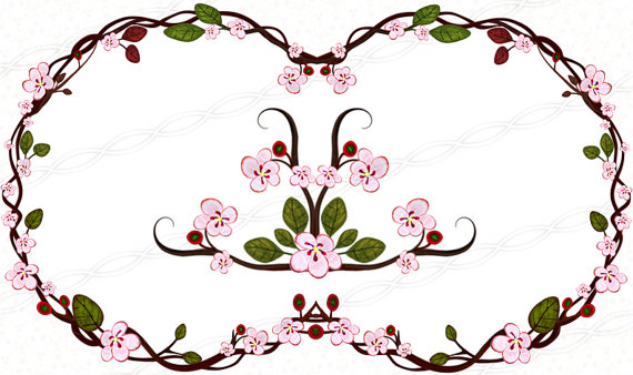 570x338 Cherry Blossom Clipart Frames And Borders Digital Doodle