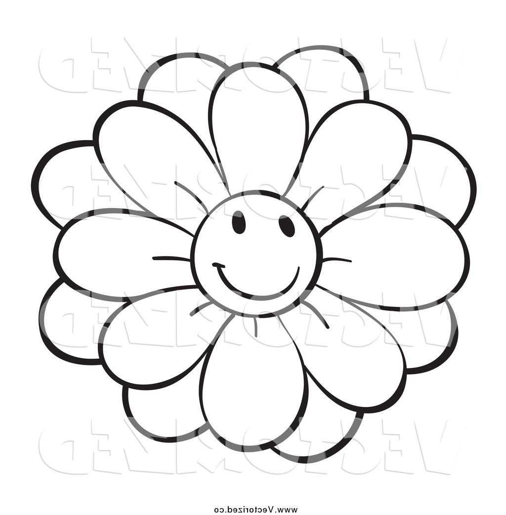 1024x1044 Top 10 And White Happy Flower Line Drawing Clip Art Images