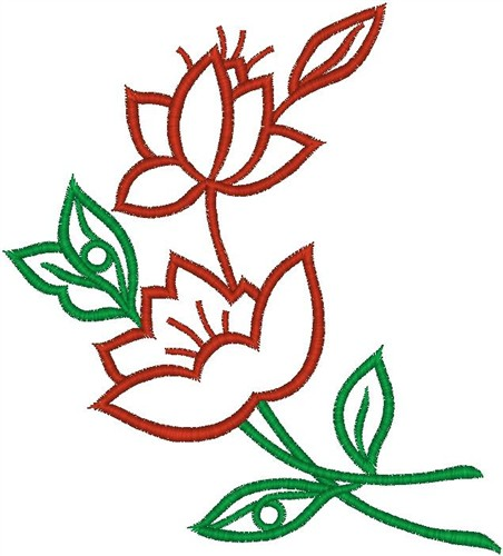 452x500 Red Flower Outline Embroidery Designs, Machine Embroidery Designs