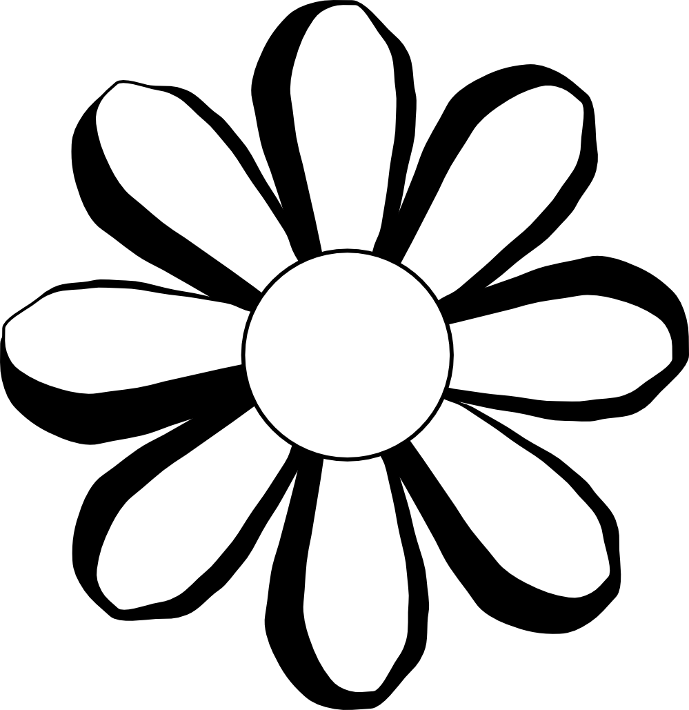 999x1029 Black And White Flower Design