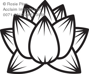 300x248 Clip Art Illustration Of The Outline Of A Lotus Flower Bloom