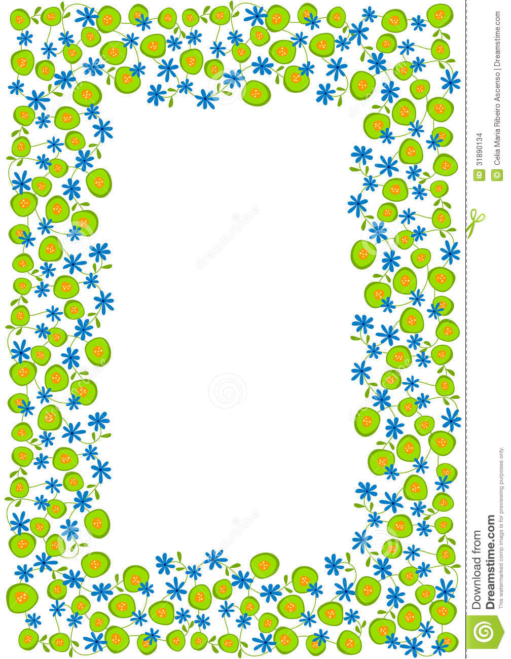 1008x1300 Blue And Green Border Clipart