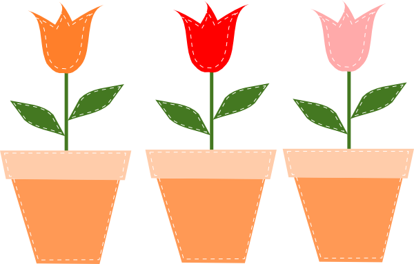 600x383 Tulips In Pots Clip Art