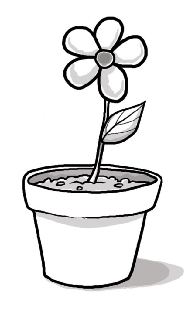 Flower Pots Clipart Black And White