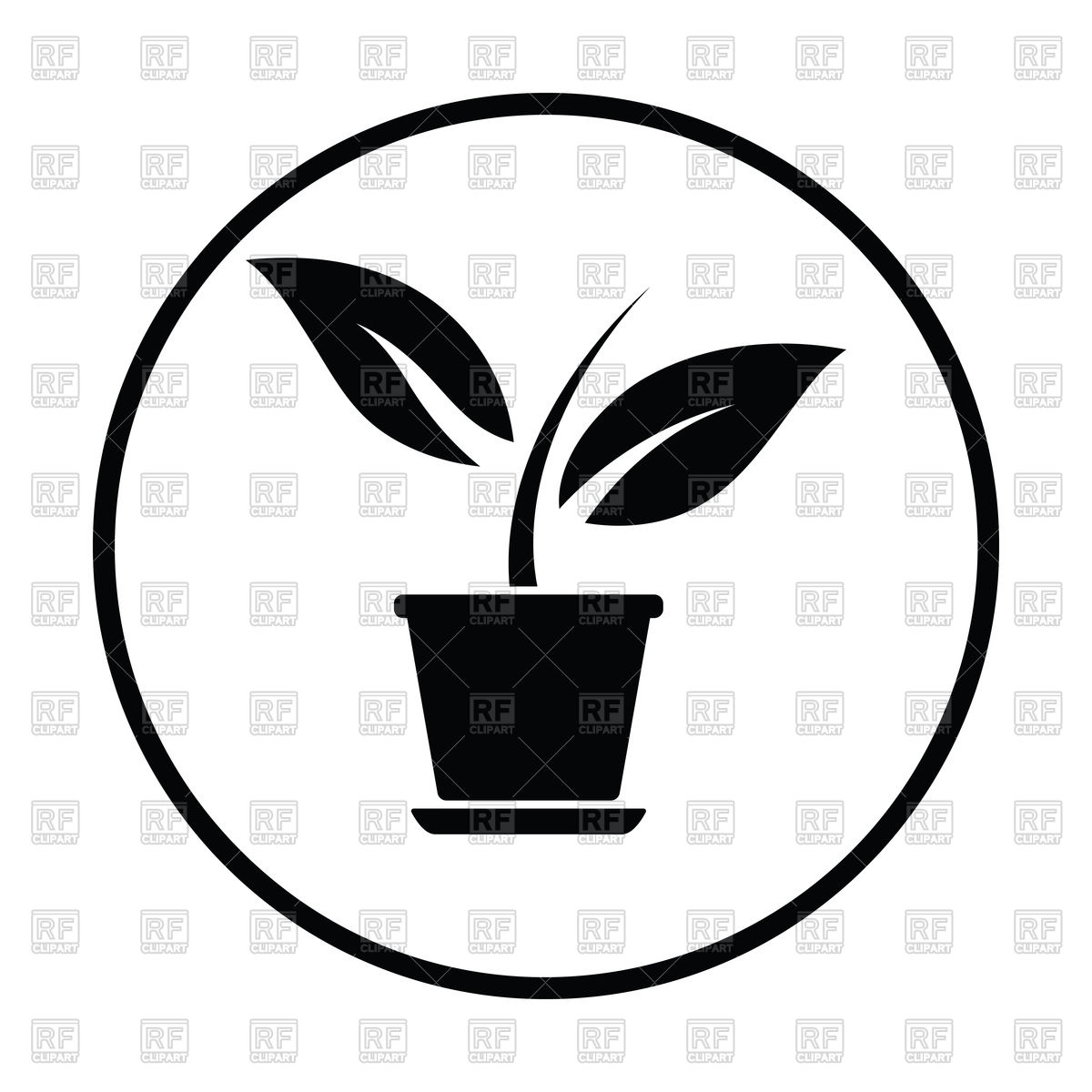 1200x1200 Thin Circle Design Of Plant In Flower Pot Icon Royalty Free Vector