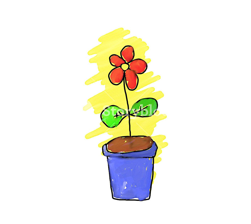1000x894 Simple Handmade Drawing Of A Flower Pot Royalty Free Stock Image