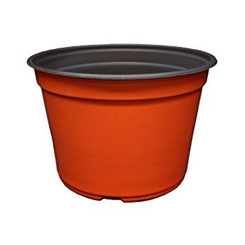 355x355 9 Inch Round Plastic Flower Pots Mum Pans (Terracotta