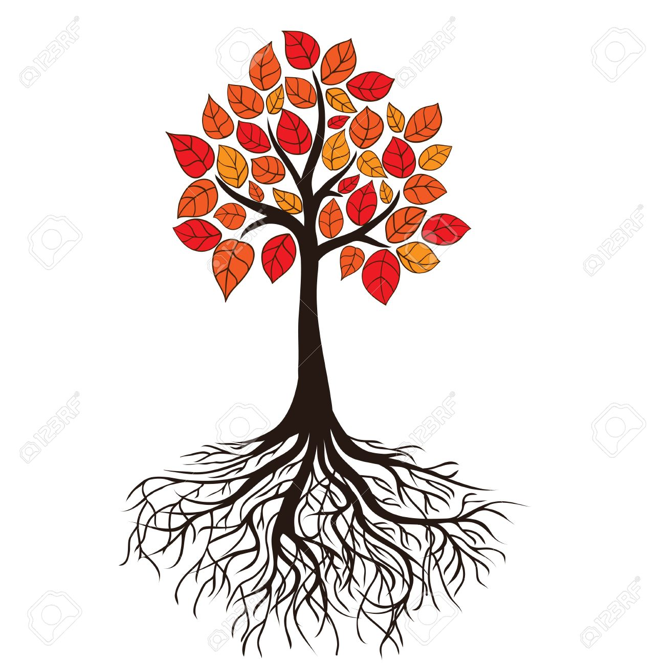 1300x1300 Autumn Tree With Roots. Vector Royalty Free Cliparts, Vectors,