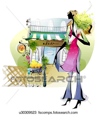 400x470 Drawing Of Side Profile Of A Woman Standing Outside A Flower Shop