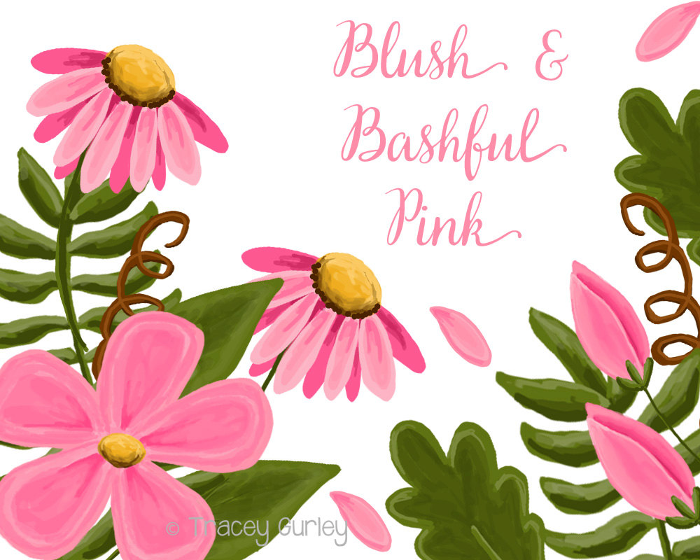 1000x800 Pink Flower Clip Art Set