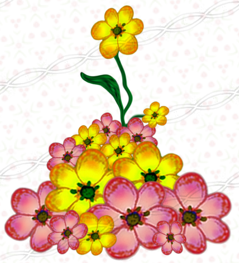 787x868 Png Plants Yellow Floral Graphics, Digital Download Flower Clipart