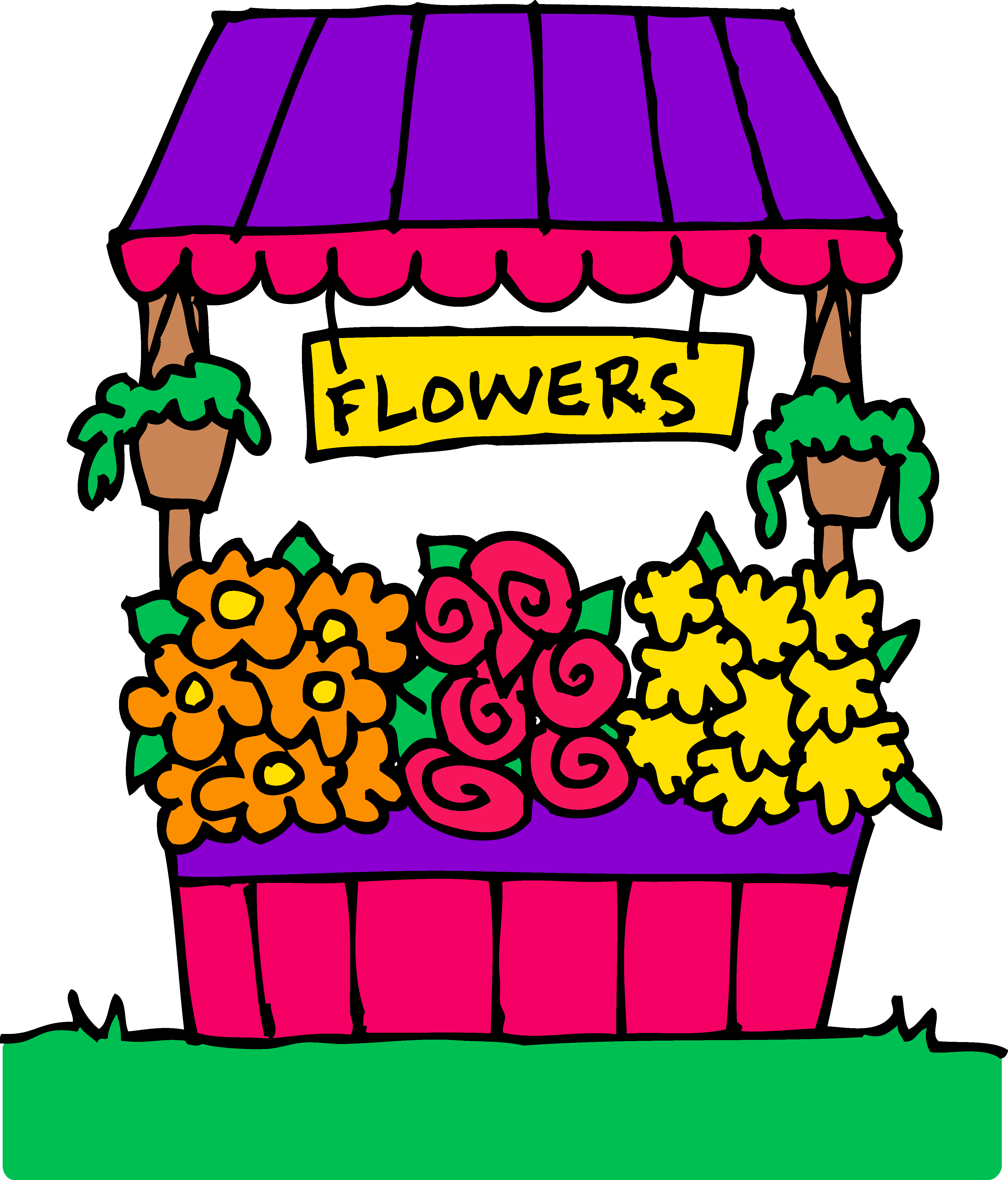 4217x4936 Colorful Flower Stand Clipart