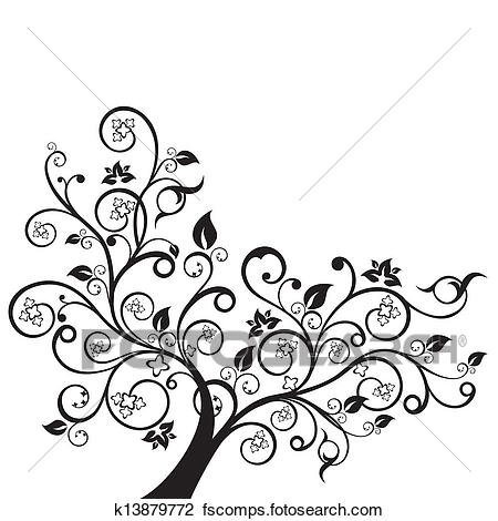 450x470 Clipart Of Flowers And Swirls Black Silhouette K13879772