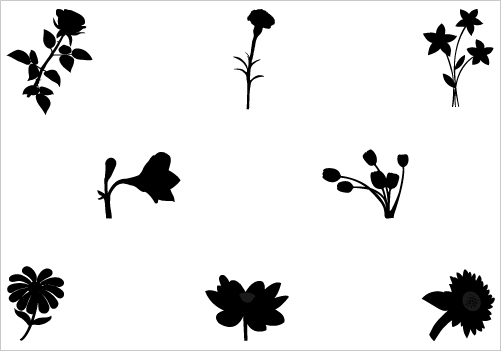 501x351 Flower Silhouette Vector Graphics Stencil Patterns