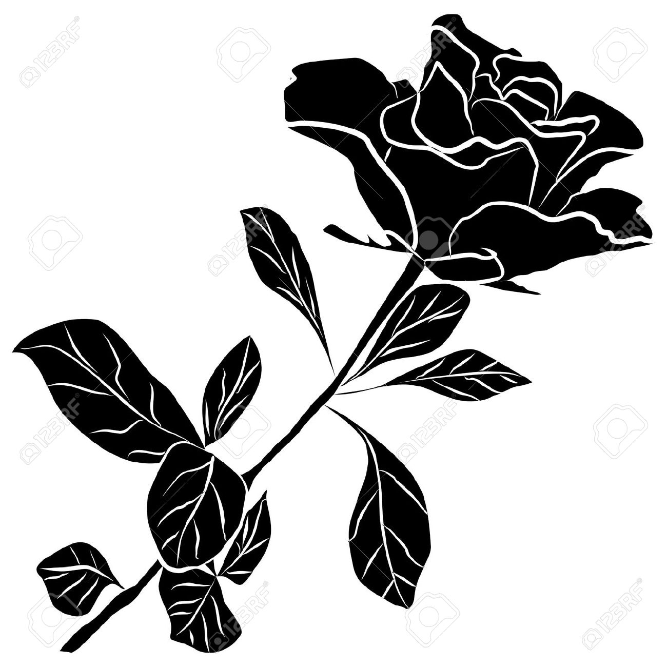 1300x1300 Rose Silhouette Clipart