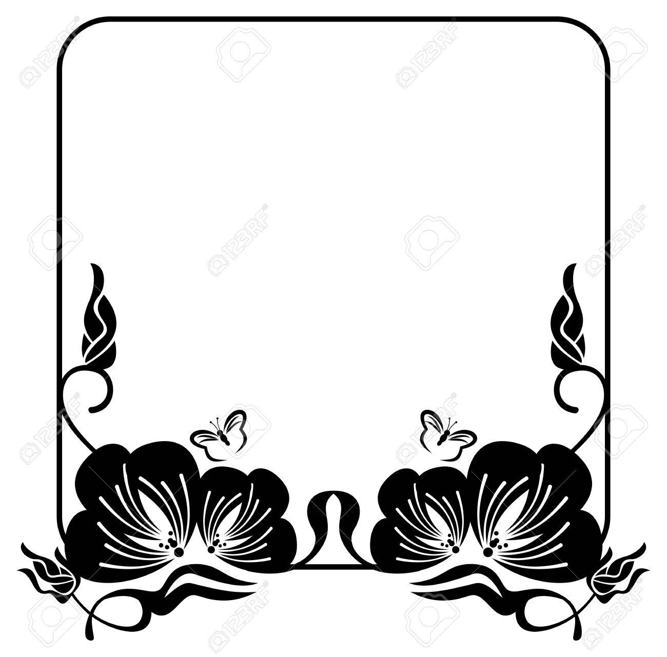 1300x1281 Square Flower Silhouette Frame With Free Space For Text Or Photo