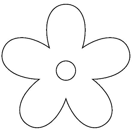 444x440 Clip Art Retro Flower 9 Black White Line Art