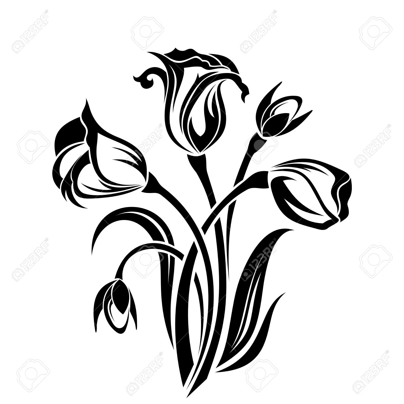 1300x1300 Black Silhouette Of Flowers Vector Illustration Royalty Free
