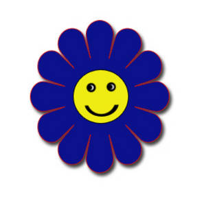 300x300 Clipart Picture Of A Blue Flower With A Smiley Face