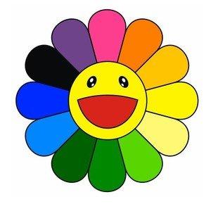 310x290 Ty0055 Rainbow Daisy Flower Sticker, Happy Face Bumper