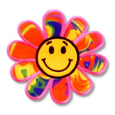 400x400 Happy Face Rainbow Daisy Embroidered Flower Patch Applique
