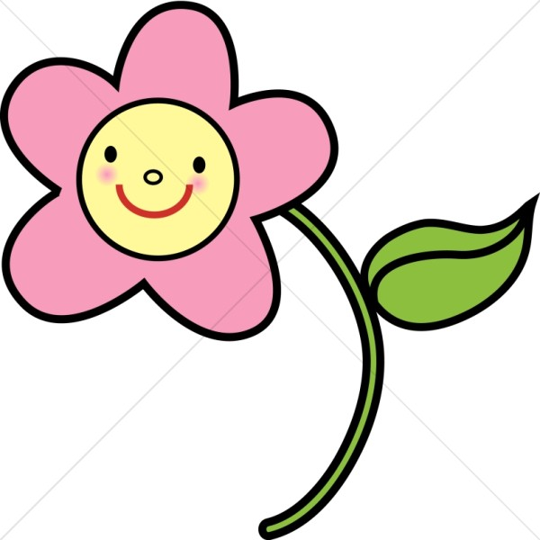 600x600 Pink Happy Flower Religious Baby Clipart